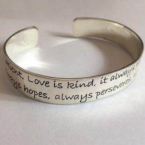 "Premier Designs signed silver cuff ""Love is Kind"""